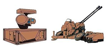 03-SADF Ystervark (porcupine) 20 mm AA gun Oerlikon_Skyshield_upgrade