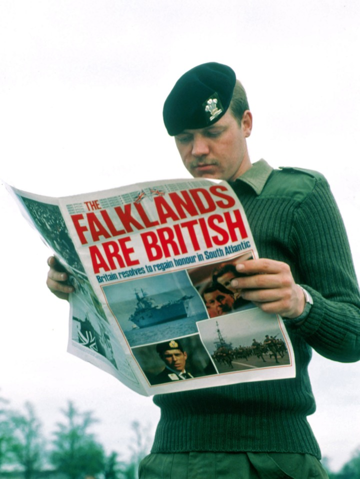 British Soldier Reads About War in the Falklands