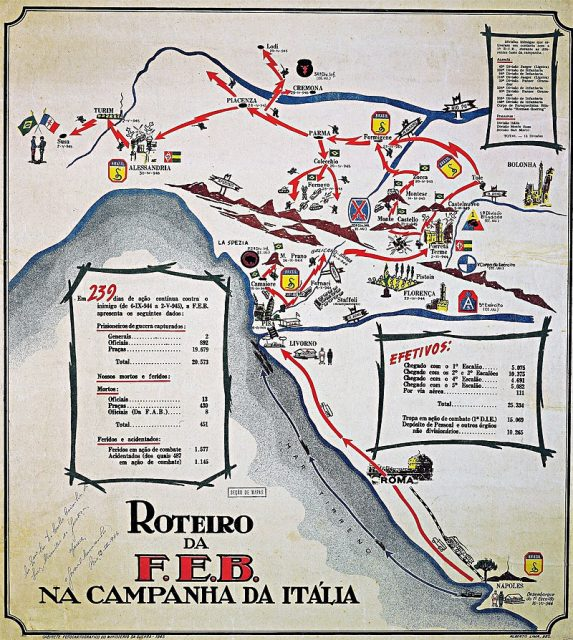 Map of the Brazilian actions in northern Italy, 1944-1945.
